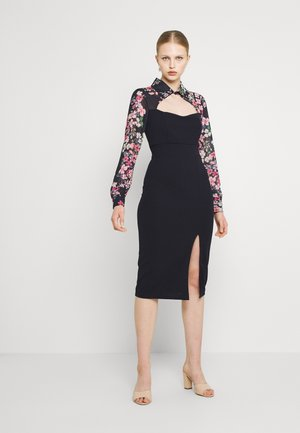 FLORAL COLLAR MIDI DRESS - Jersey dress - navy