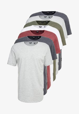ONSMATT LONGY 7 PACK - T-shirts basic - white/cabernet melange/forest night melange