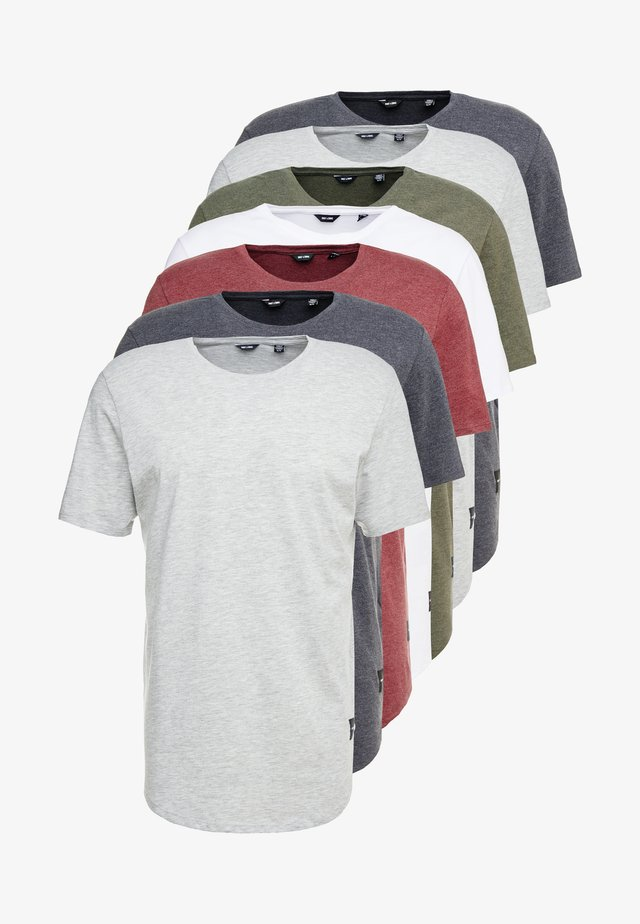 ONSMATT LONGY 7 PACK - T-shirt basic - white/cabernet melange/forest night melange