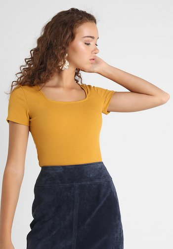 SQUARE NECK BODY 2 PACK - Basic T-shirt - white/yellow