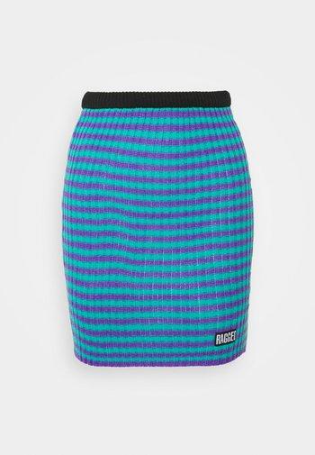 STRIPE SKIRT - Mini skirt - blue/lilac