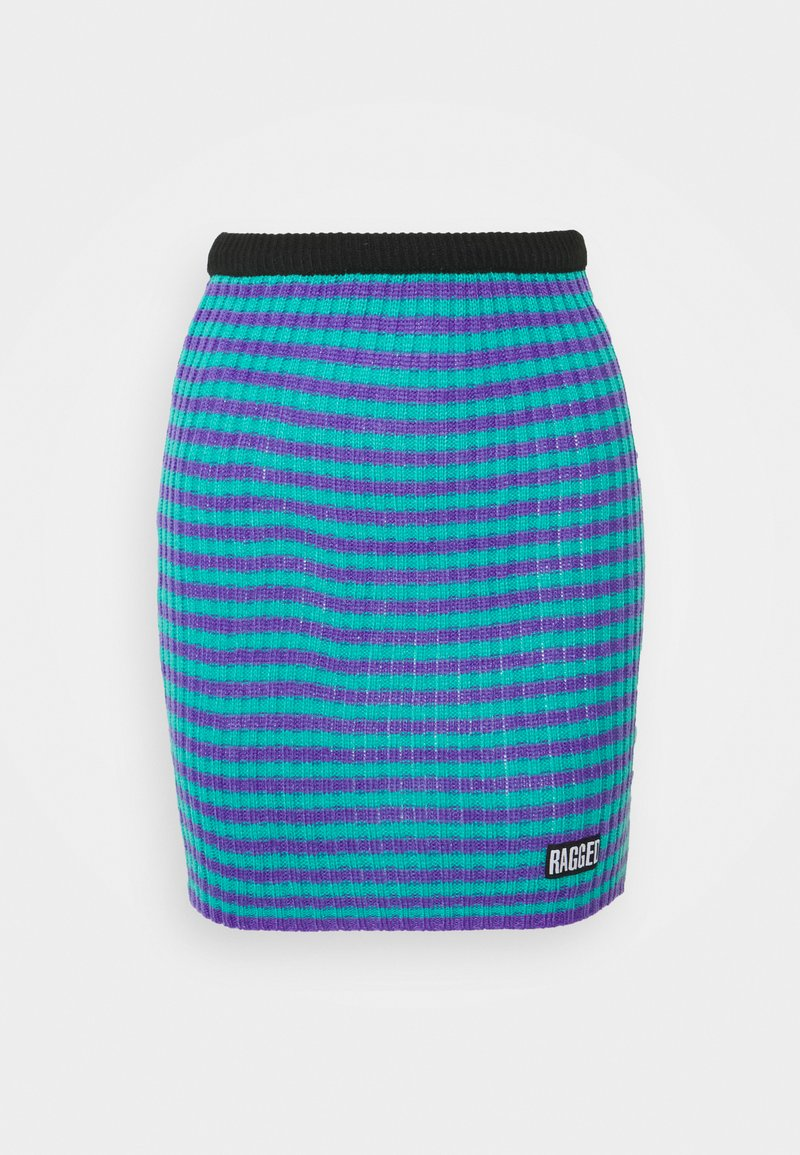 The Ragged Priest - STRIPE SKIRT - Mini skirt - blue/lilac