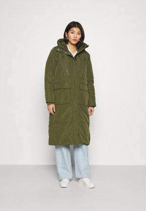 PADDED LONG COAT - Winterjas - deep olive green