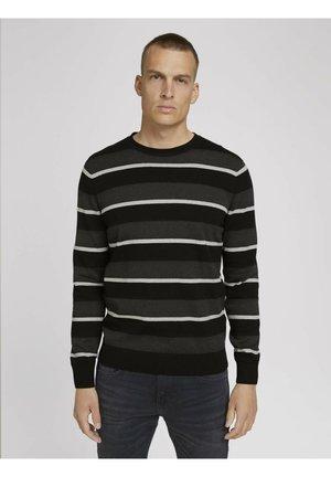 Strickpullover - black antra grey stripe
