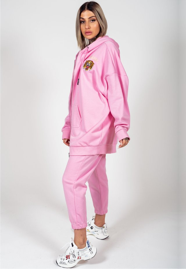 BIG ROAR OVERSIZE ZIP HOODY - veste en sweat zippée - pink
