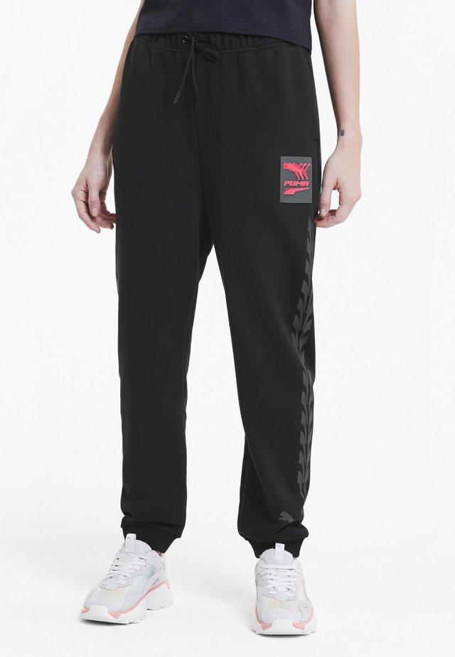 Tracksuit bottoms -  black-pink