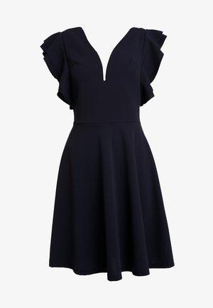V NECK FRILL SLEEVE DRESS - Žerzejové šaty - navy