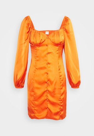 CARE BUTTON THROUGH MINI DRESS WITH PUFF LONG SLEEVES AND SWEETH - Vestido de cóctel - rust
