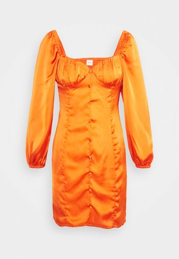 CARE BUTTON THROUGH MINI DRESS WITH PUFF LONG SLEEVES AND SWEETH - Cocktail dress / Party dress - rust