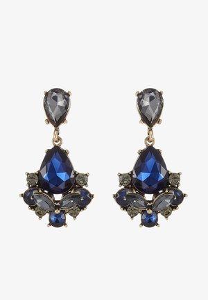 TERZIA - Earrings - antikgold-coloured/dunkelblau