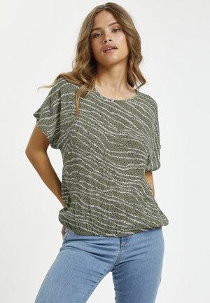 Print T-shirt - grape leaf graphic lines/dots