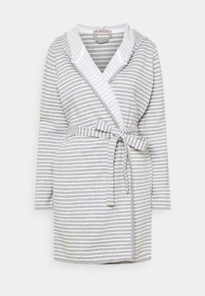 STRIPE FLANNEL BATHROBE  - Albornoz - grey/white