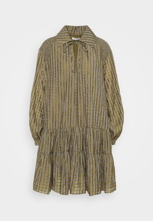 SMOCK DRESS WITH LONG SLEEVES - Robe d'été - olive/metallic gingham