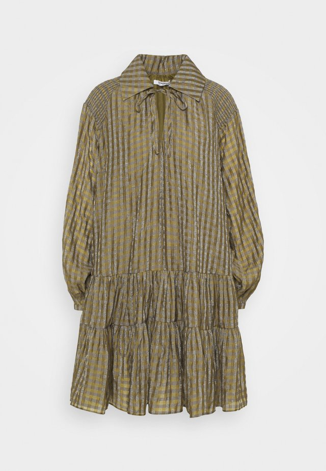 SMOCK DRESS WITH LONG SLEEVES - Shirt dress - olive/metallic gingham