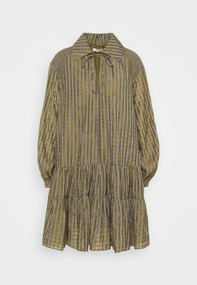 Glamorous - SMOCK DRESS WITH LONG SLEEVES - Robe d'été - olive/metallic gingham