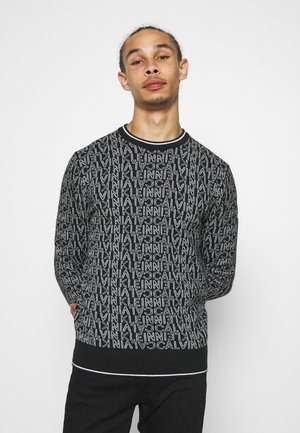 ALL OVER JACQUARD LOGO  - Jumper - black