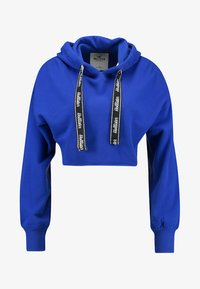 Hollister Co. - CROP BOYFRIEND POPOVER WITH LOGO TIES - Mikina skapucí - blue - 3