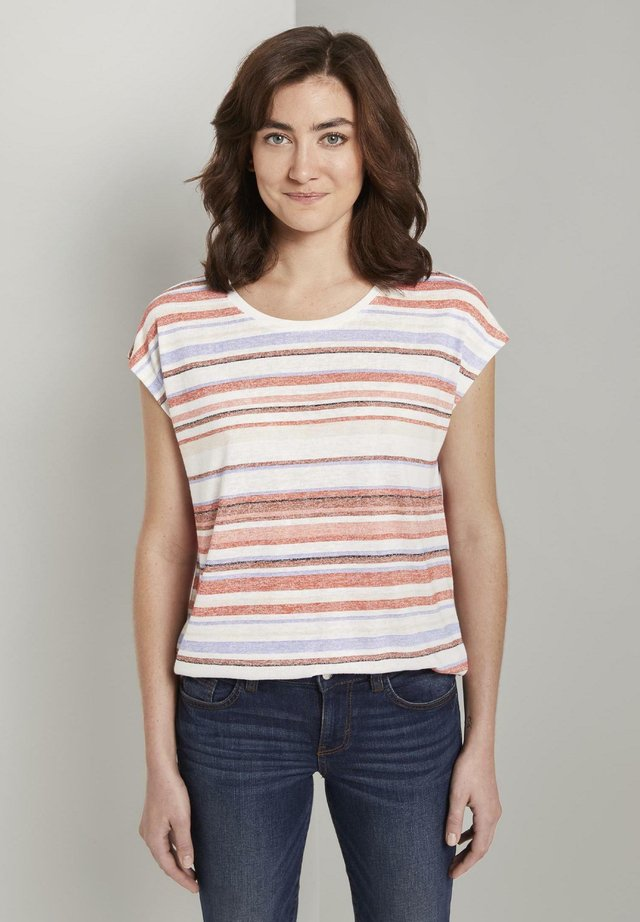 T-shirt z nadrukiem - mauve painted stripe