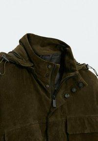 Massimo Dutti - Leather jacket - khaki - 5