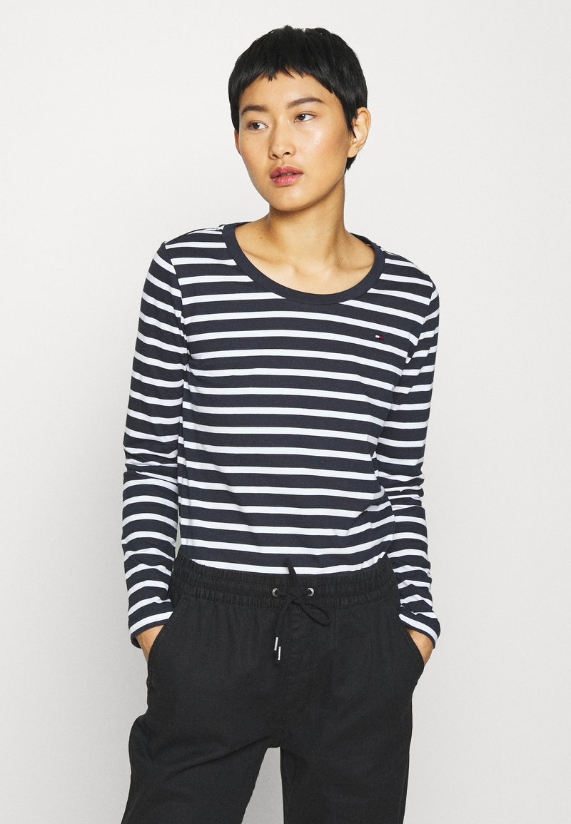 Tommy Hilfiger - CANDICE ROUND - Long sleeved top - breton white/desert sky
