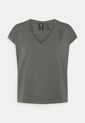 BACKPRINT LOOSE V NECK - Print T-shirt - grey
