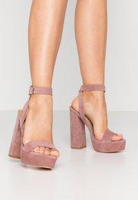 Even&Odd - LEATHER - High heeled sandals - rose - 0