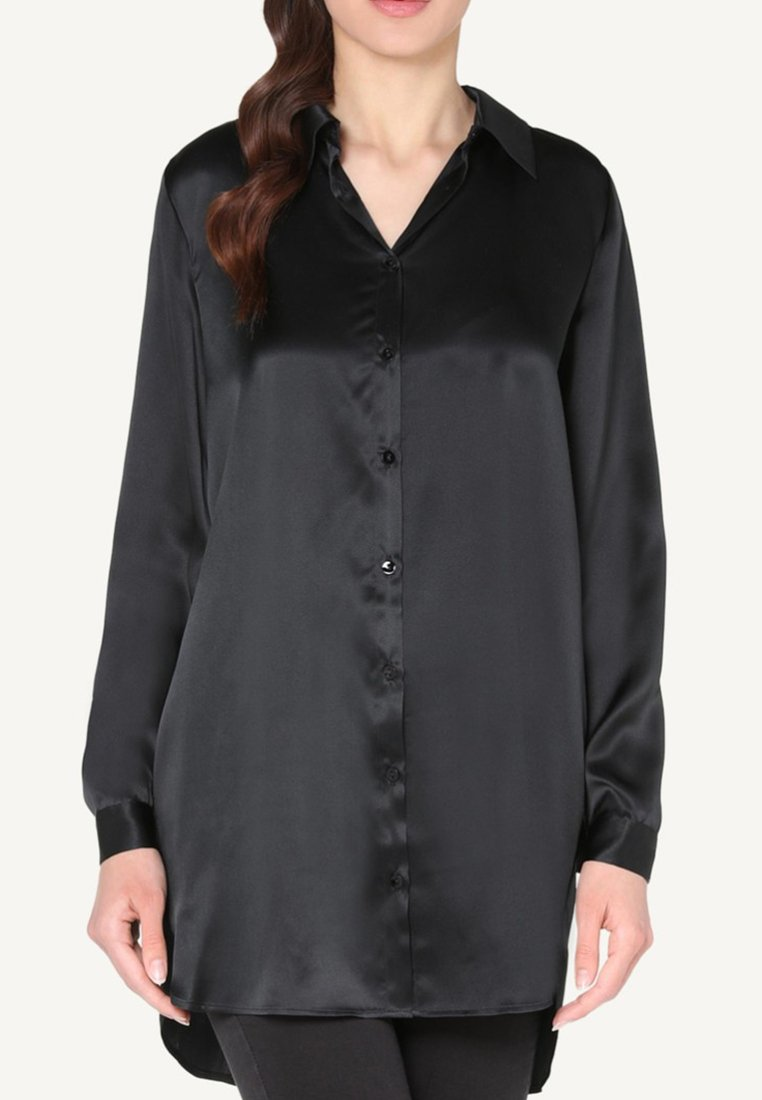 Damen BLUSE AUS SEIDE MIT KLASSISCHER MANSCHETTE - Nachtwäsche Shirt