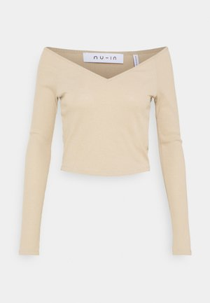 OFF SHOULDER HEART NECK - Langarmshirt - beige