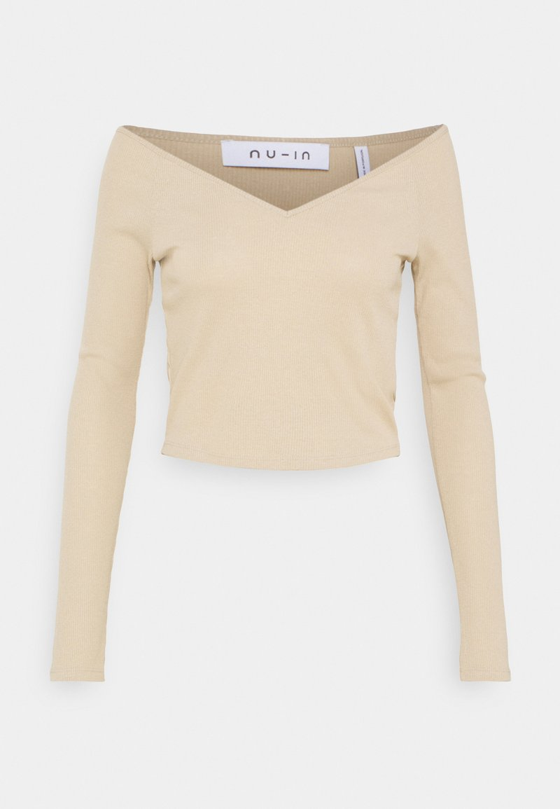 NU-IN - OFF SHOULDER HEART NECK - Long sleeved top - beige