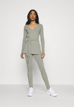 TIE WAIST SET - Legging - grey marl