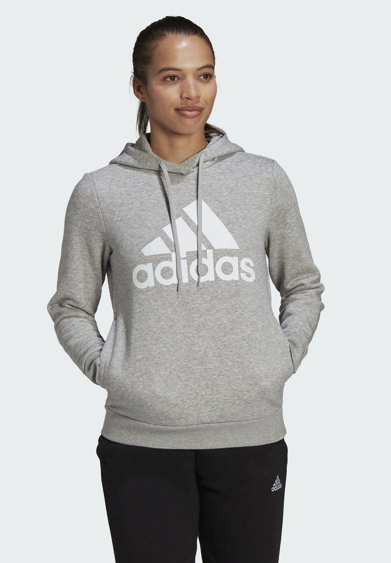 adidas Performance - ESSENTIALS LOGO FLEECE HOODIE - Felpa con cappuccio - grey