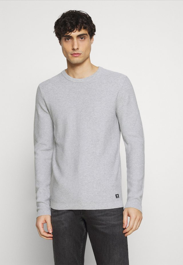WAFFLE OPTIC TUCK STITCH CREW - Jumper - lava stone grey melange