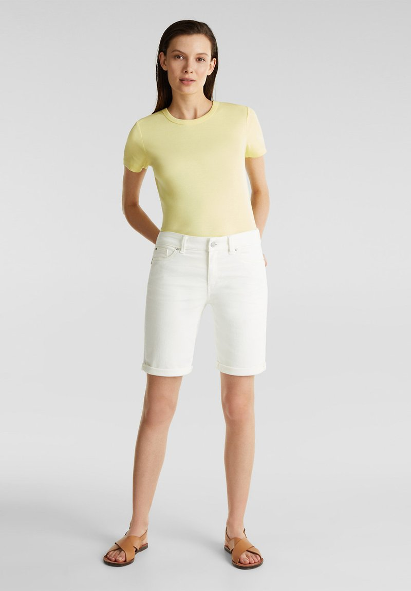 Esprit - FASHION DENIM SHORTS - Denim shorts - white