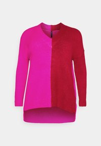 CAPSULE by Simply Be - ELEVATED ESSENTIALS VNECK - Jumper - pink/red - 4