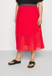 Simply Be - PLISSE MIDI SKIRT - A-line skirt - oxy red - 0