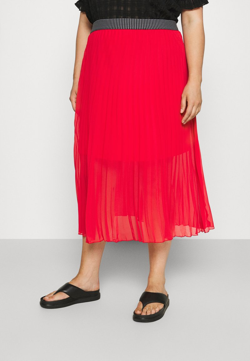 Simply Be - PLISSE MIDI SKIRT - A-line skirt - oxy red