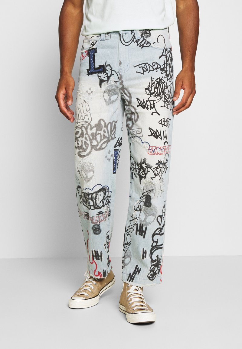Jaded London - SCRIBBLE GRAFFITI SKATE JEANS - Relaxed fit jeans - blue