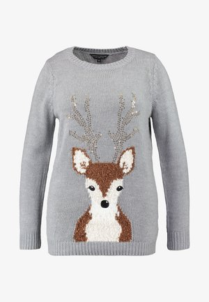 SEQUIN ANTLER REINDEER - Jumper - grey