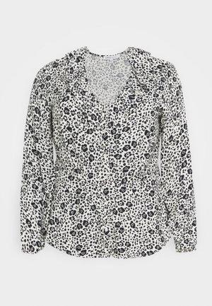 FRILL BLOUSE - Button-down blouse - black/white
