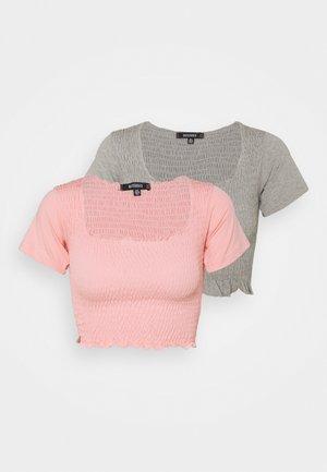 SHIRRED CROP 2 PACK - Camiseta básica - rose pink/grey