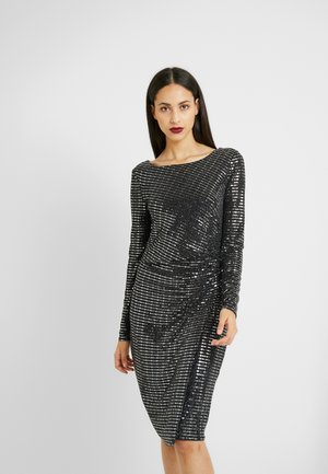 SHIMMER SEQUIN RUCH SIDE DRESS - Koktejlové šaty / šaty na párty - black