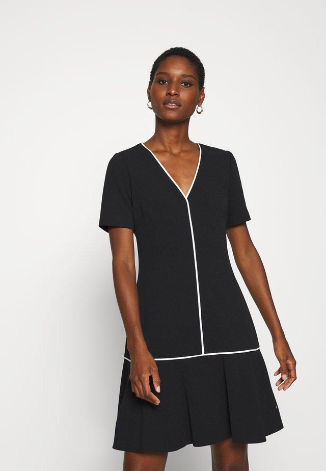 PIPING DETAIL PEPLUM DRESS - Jersey dress - black