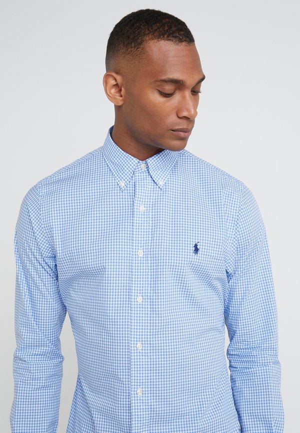Polo Ralph Lauren NATURAL SLIM FIT - Koszula - blue/white/jasnoniebieski Odzież Męska LKDM