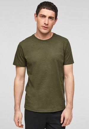 MELANGE-EFFEKT - Basic T-shirt - khaki melange