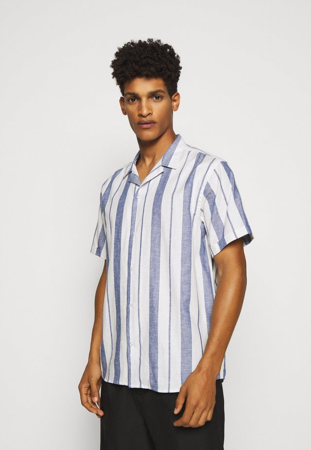 SIMON - Shirt - offwhite / cobalt blue