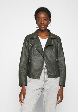 LADIES JACKET - Faux leather jacket - khaki