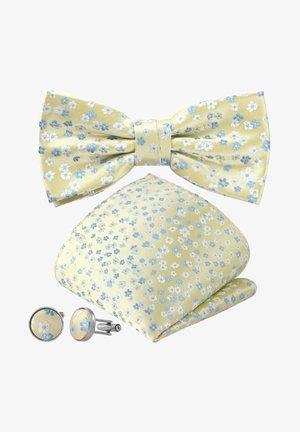 3-SET FLORES SCHLEIFE - Cufflinks - sand gelb pastell blüten himmelblau blau creme