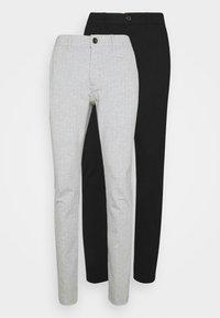Denim Project - PONTE PANT 2 PACK - Kalhoty - black /light grey melange - 0