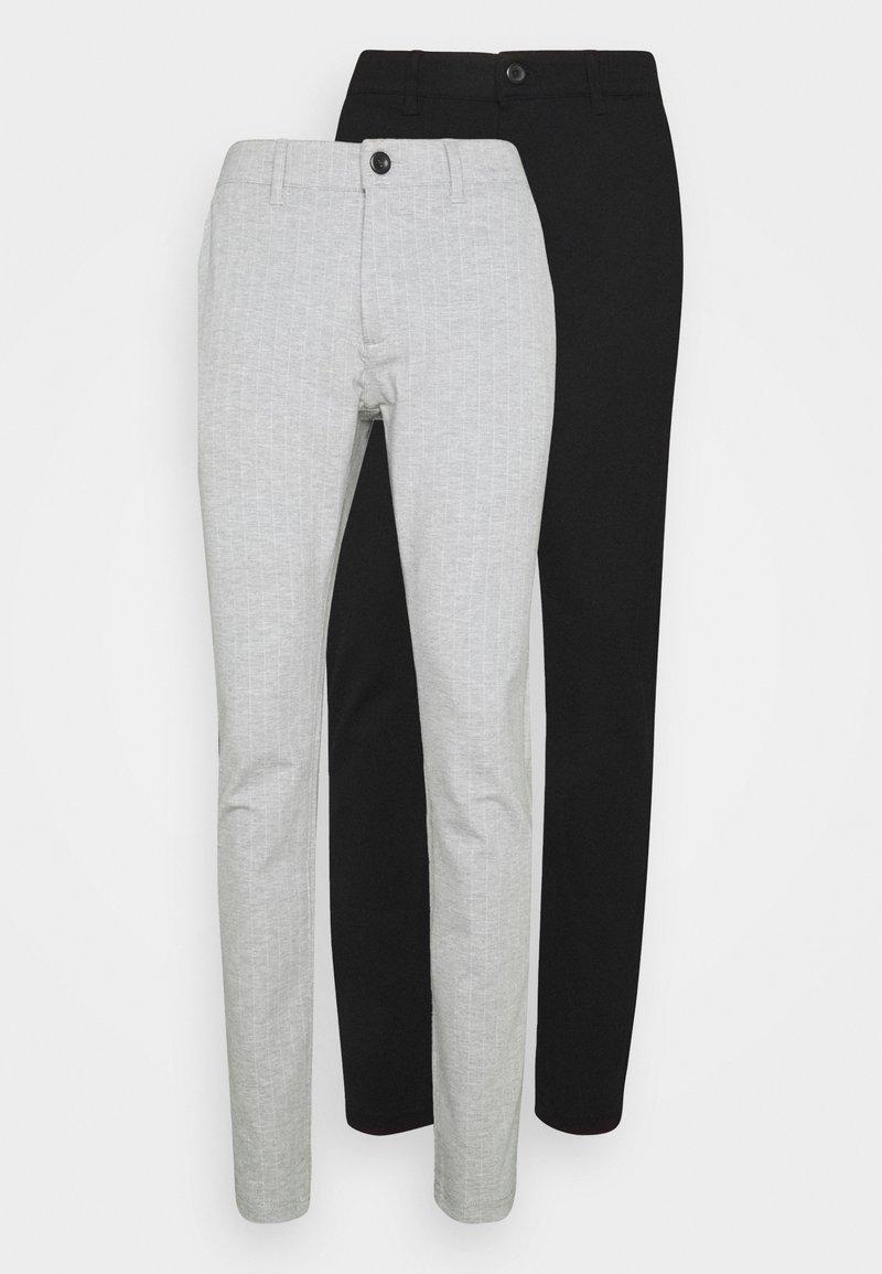 Denim Project - PONTE PANT 2 PACK - Kalhoty - black /light grey melange