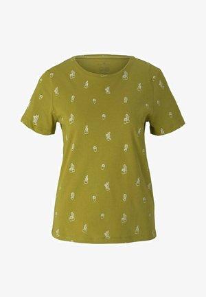 Print T-shirt - green white cactus design